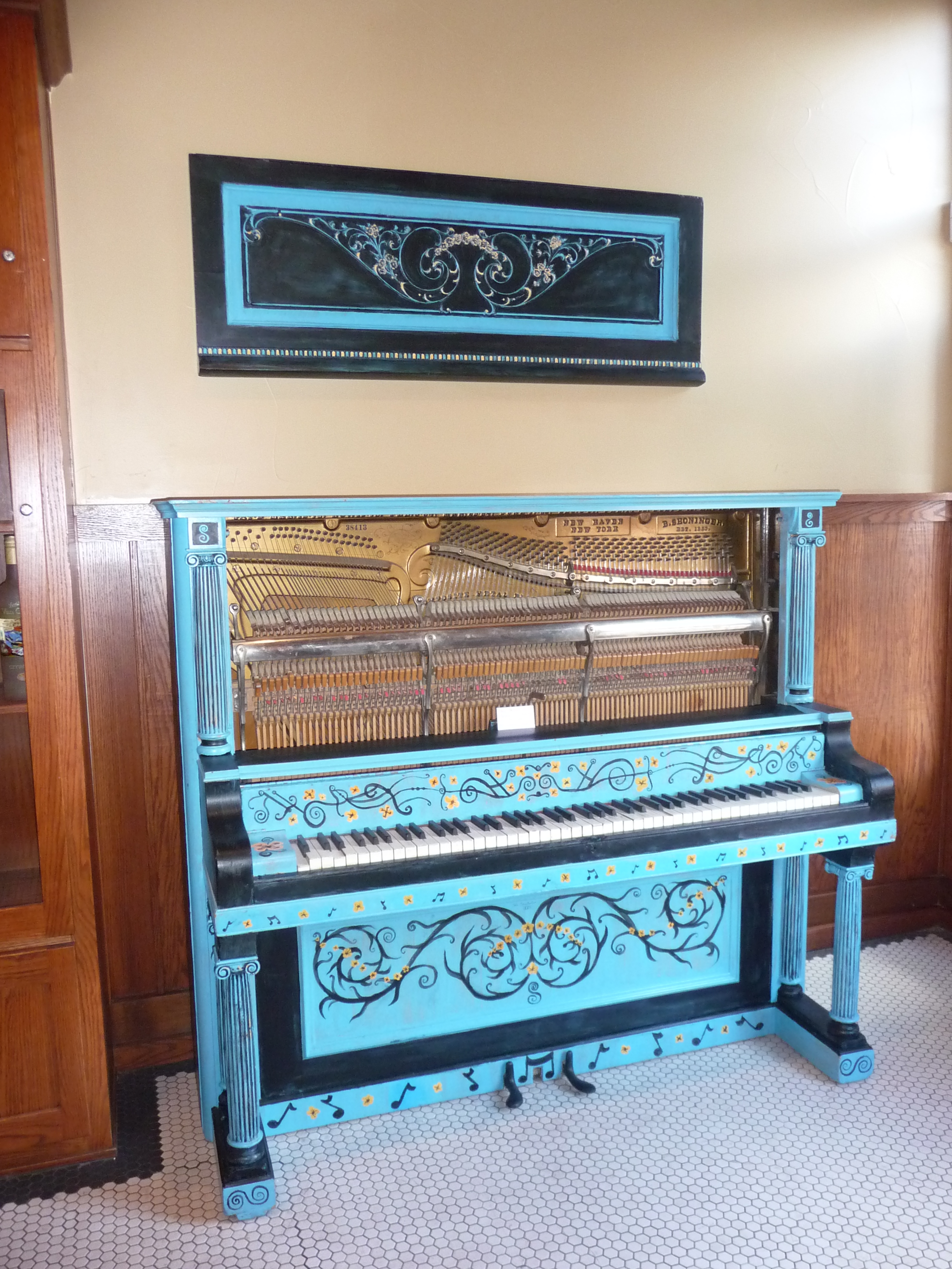 Black Painted Piano Painted Upright Piano Sits