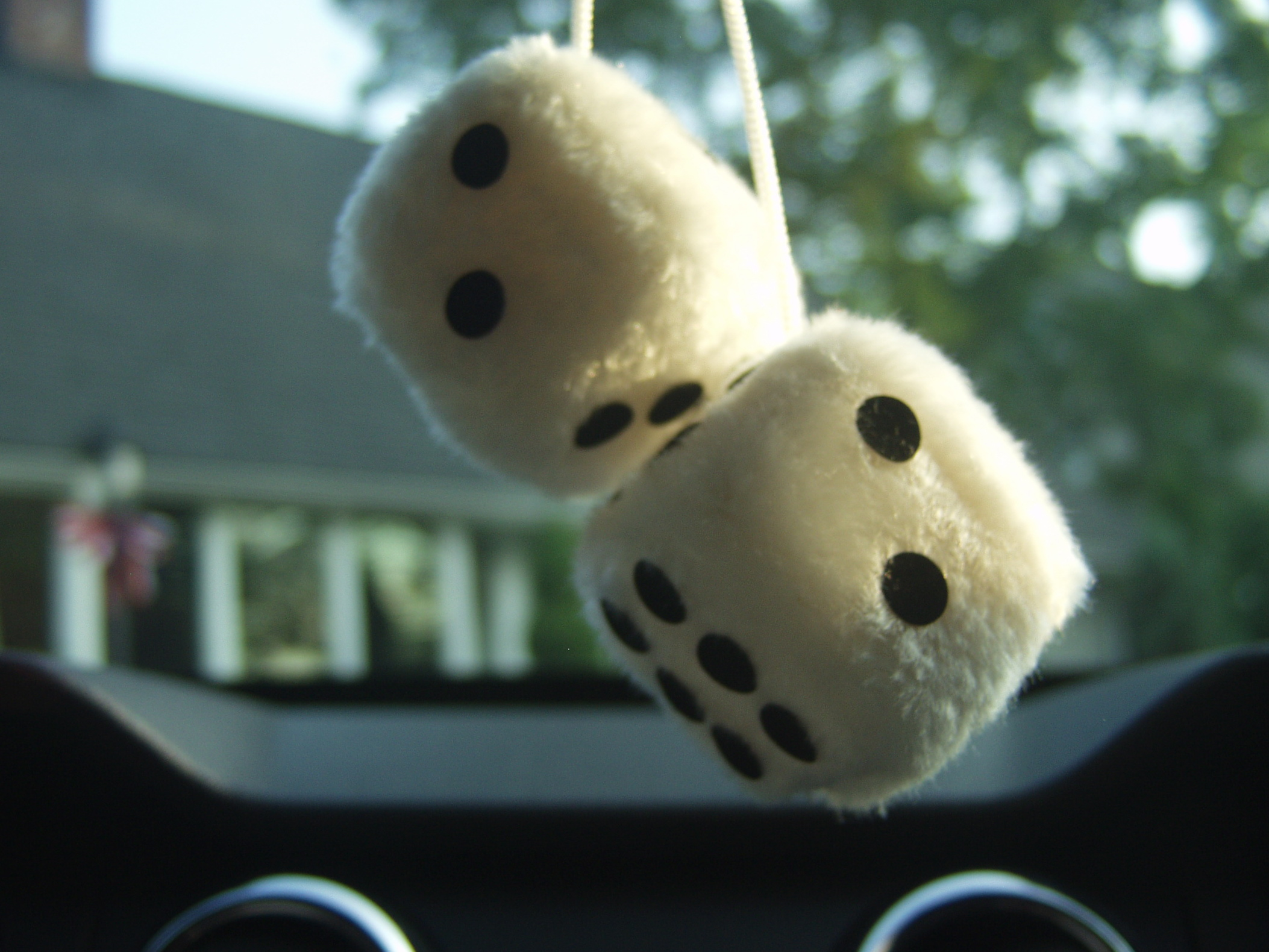 Dice on rearview mirror