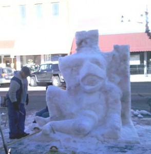 Snow Sculpture After Dark 1