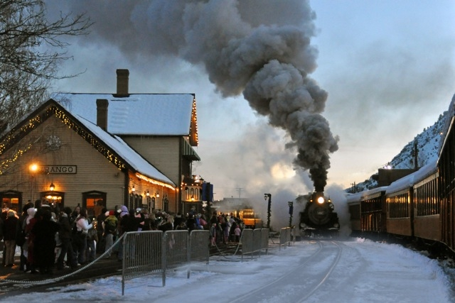 Polar Express arrives at the station Durango