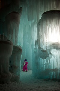 Child in Ice Tunnel at Ice Castles at Silverthorne