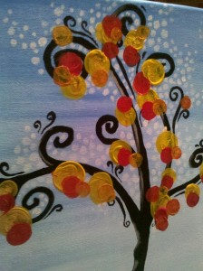 close up of ryans painting at studio vino