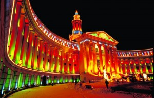 denver city & county building holiday lights