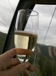 Champagne on the gondola in Keystone for TBEX June 2012 HeidiTown.com