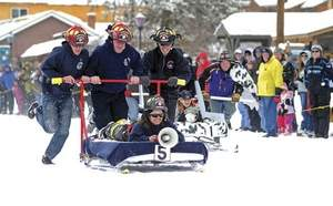 Fire Dept Bed Sled Grand Lake Winter Carnival