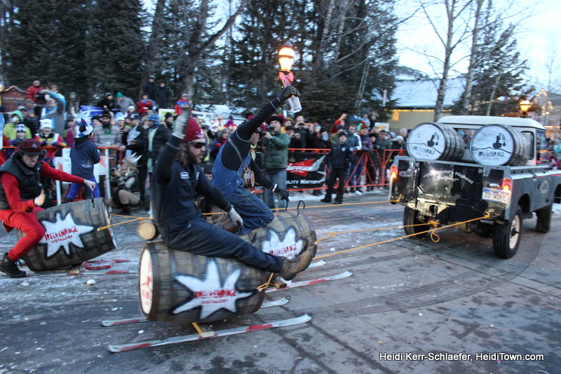 Guys riding keg skis Ullr Parade 2013 HeidiTown