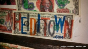 HeidiTown dollar bill at Hernandos Winter Park 2013