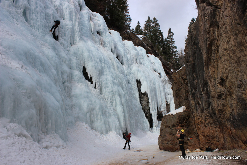 Other climbers in our section of the canyon at Ouray Ice Park. Photo by Heidi Kerr-Schlaefer for HeidiTown.com