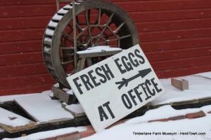Farm Fresh Eggs sign at Timberlane Farm Museum HeidiTown