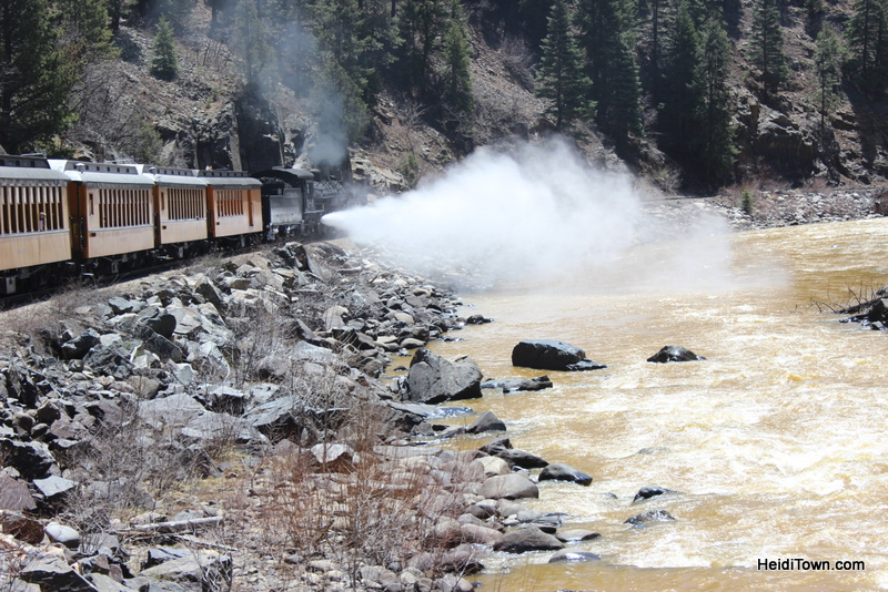the Durango & Silverton Narrow Gauge Railroad lets off steam by HeidiTown.com