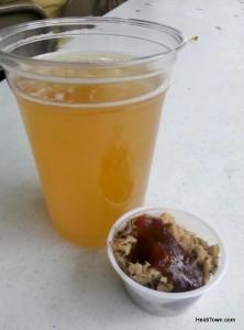 A beer & a bbq taster at Loveland Loves BBQ, Bands & Brews HeidiTown