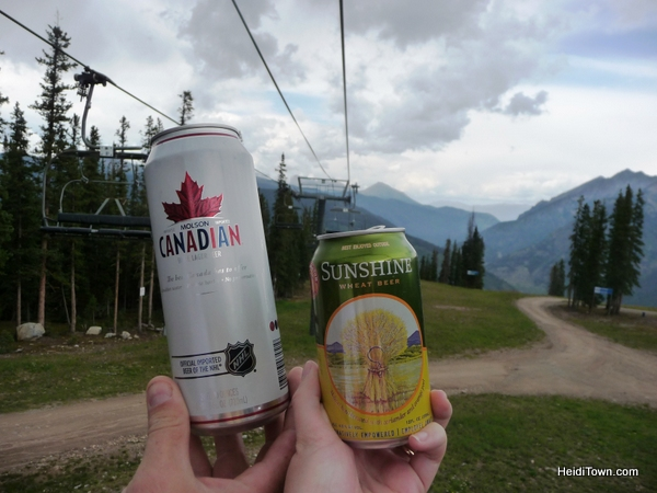 Drinking beers on the chair lift at Copper Mountain in the summer. HeidiTown.com