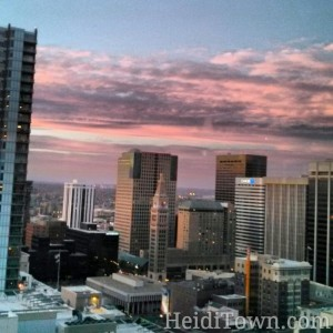 Downtown Denver reflecting the November Sunset. HeidiTown.com