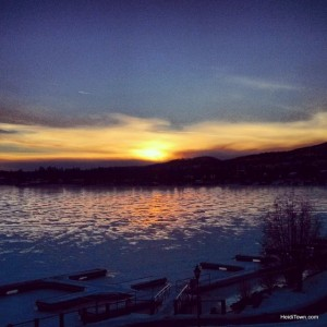 A wintery sunset over Grand Lake in Grand Lake, Colorado. HeidiTown.com
