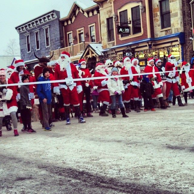 The starting line at the Race of the Santas a six block run for charity in Breckenridge, Colorado. HeidiTown.com
