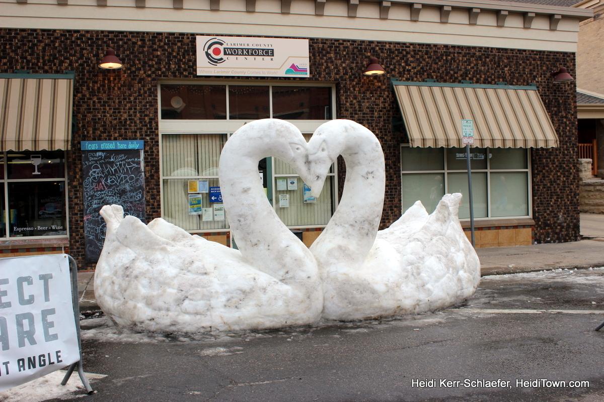 Snow Sculpture in the Dark 1. HeidiTown.com