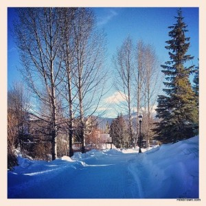 the riverwalk path in Breckenridge, Colorado. Ullr Fest 2014. HeidiTown.com