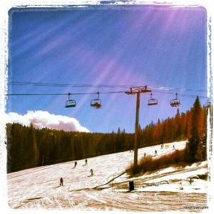 the sun shining down on Breckenridge Ski Resort. Blue bird day from Beaver Run Resort. Ullr Fest 21014. HeidiTown.com