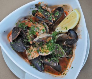 steamers with our spicy diablo sauce at Fish in Fort Collins Colorado