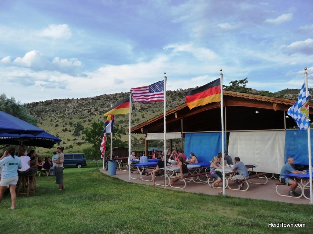 setting of biergarten festival in Morrison Colorado. HeidiTown.com