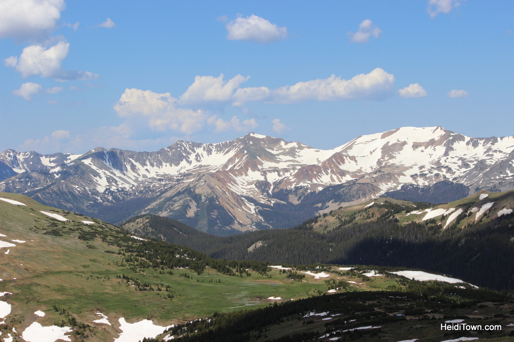 The view from Trail Ridge Road in early July. Rocky Mountain National Park. HeidiTown.com