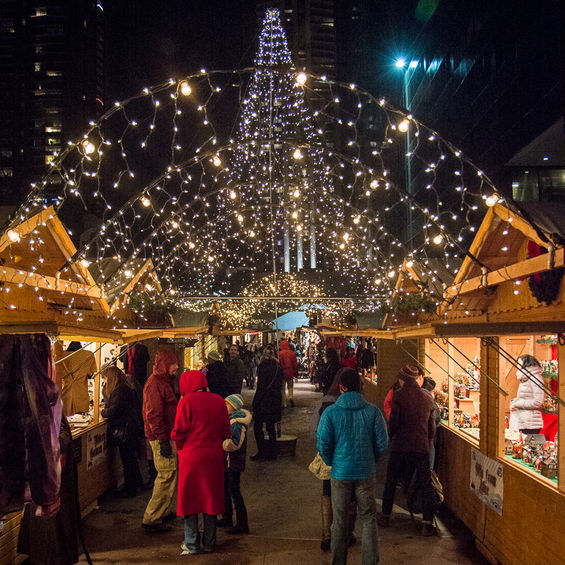 Denver Christkindl Market at night