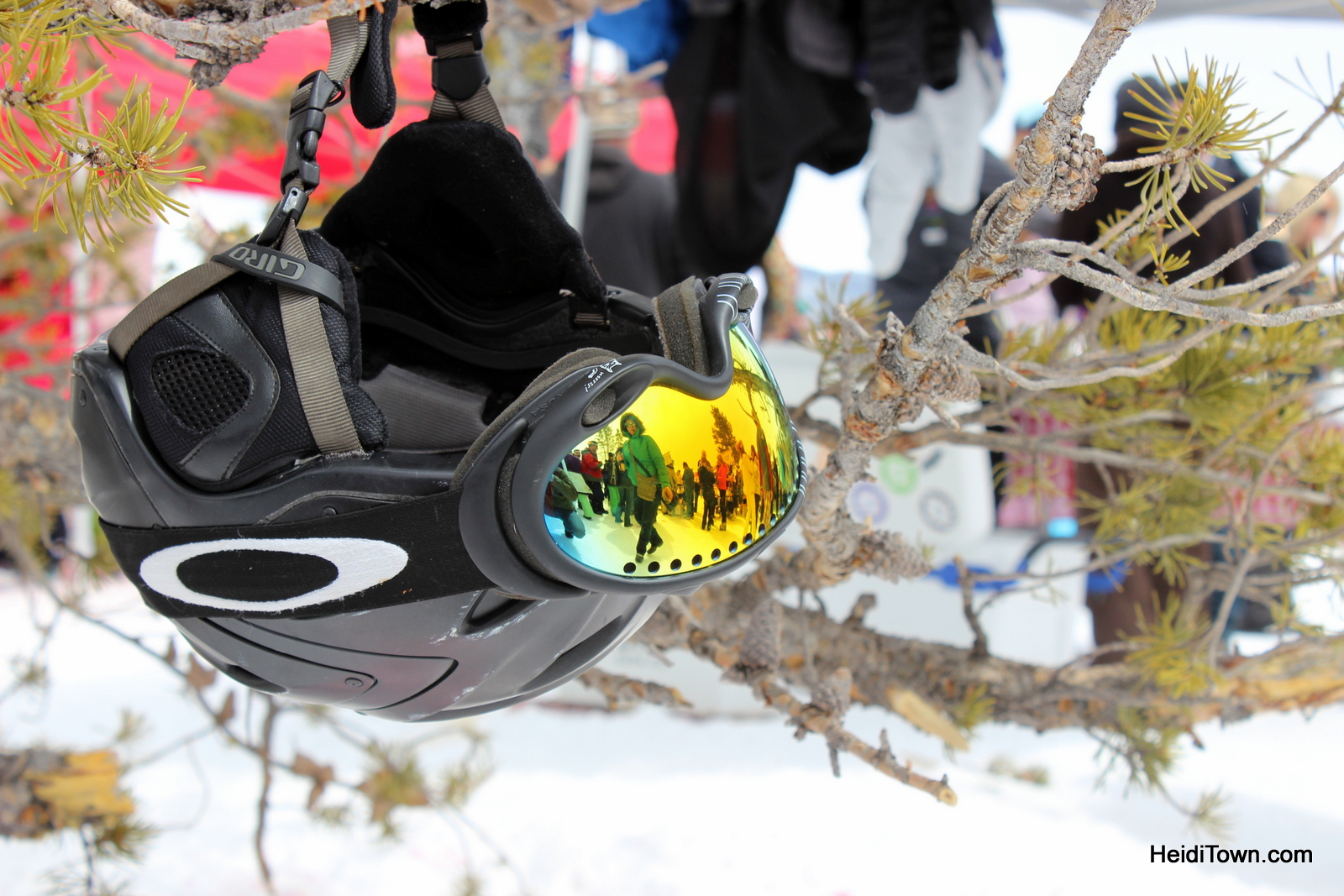 ski helmet dangling from a tree at the Mountain Top Picnic at Taste of Vail. HeidiTown.com