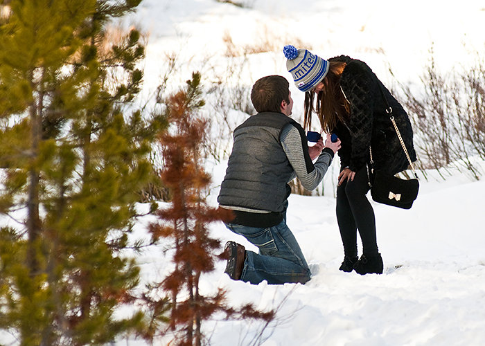 A sleigh ride in Breckenridge Colorado. Marriage proposal with Dramatic Focal Point Photography