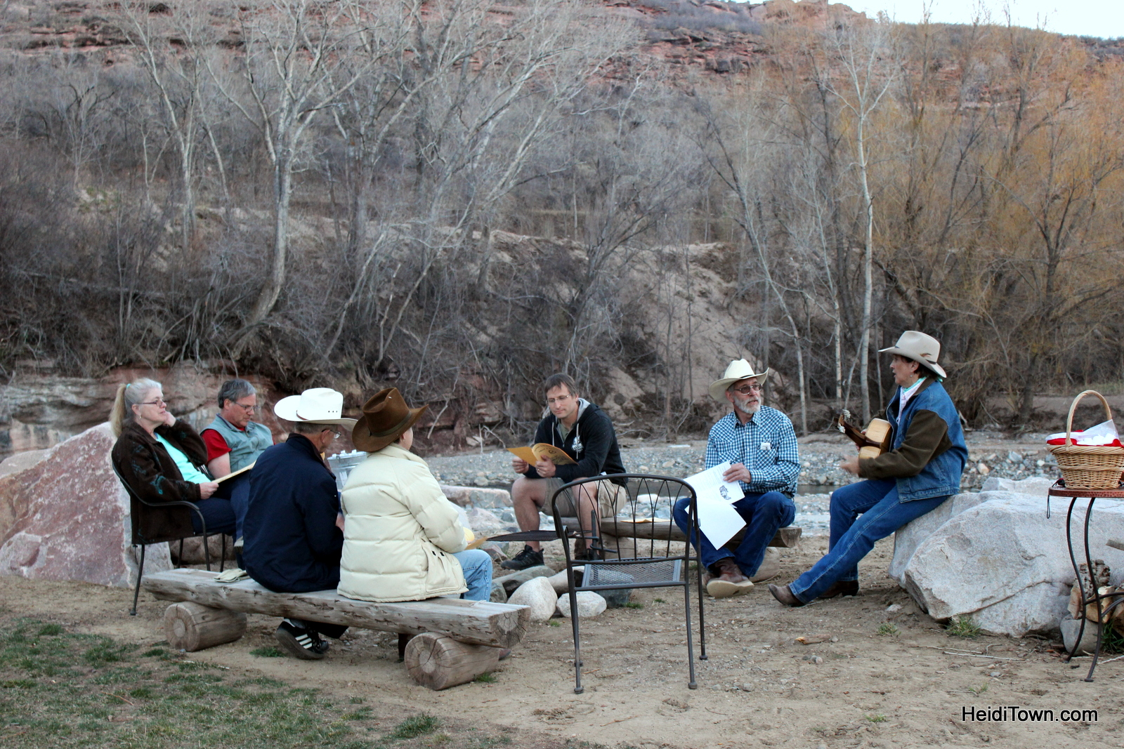 Songs around the campfire during Spring into Spring weekend at Sylvan Dale Guest Ranch in Loveland, Colorado. HeidiTown.com