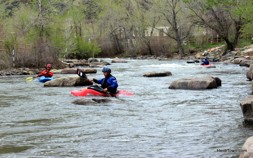 Kayakers on clear creek in Golden, Colorado. Charming towns along the USA Pro Challenge, 2015. HeidiTown.com