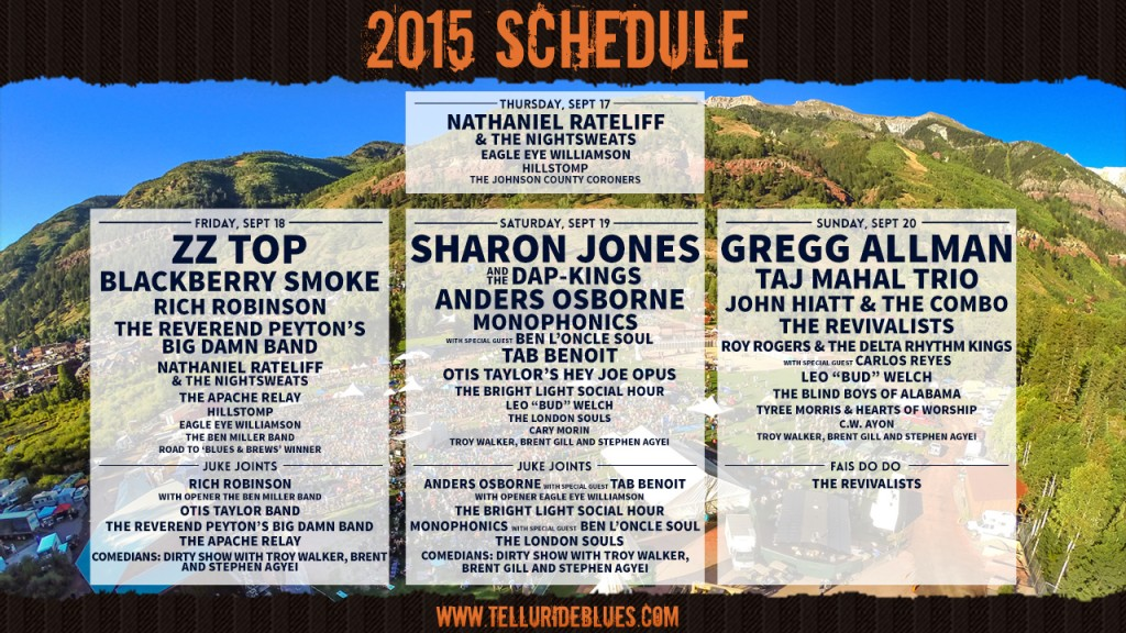 Telluride Blues & Brews Schedule