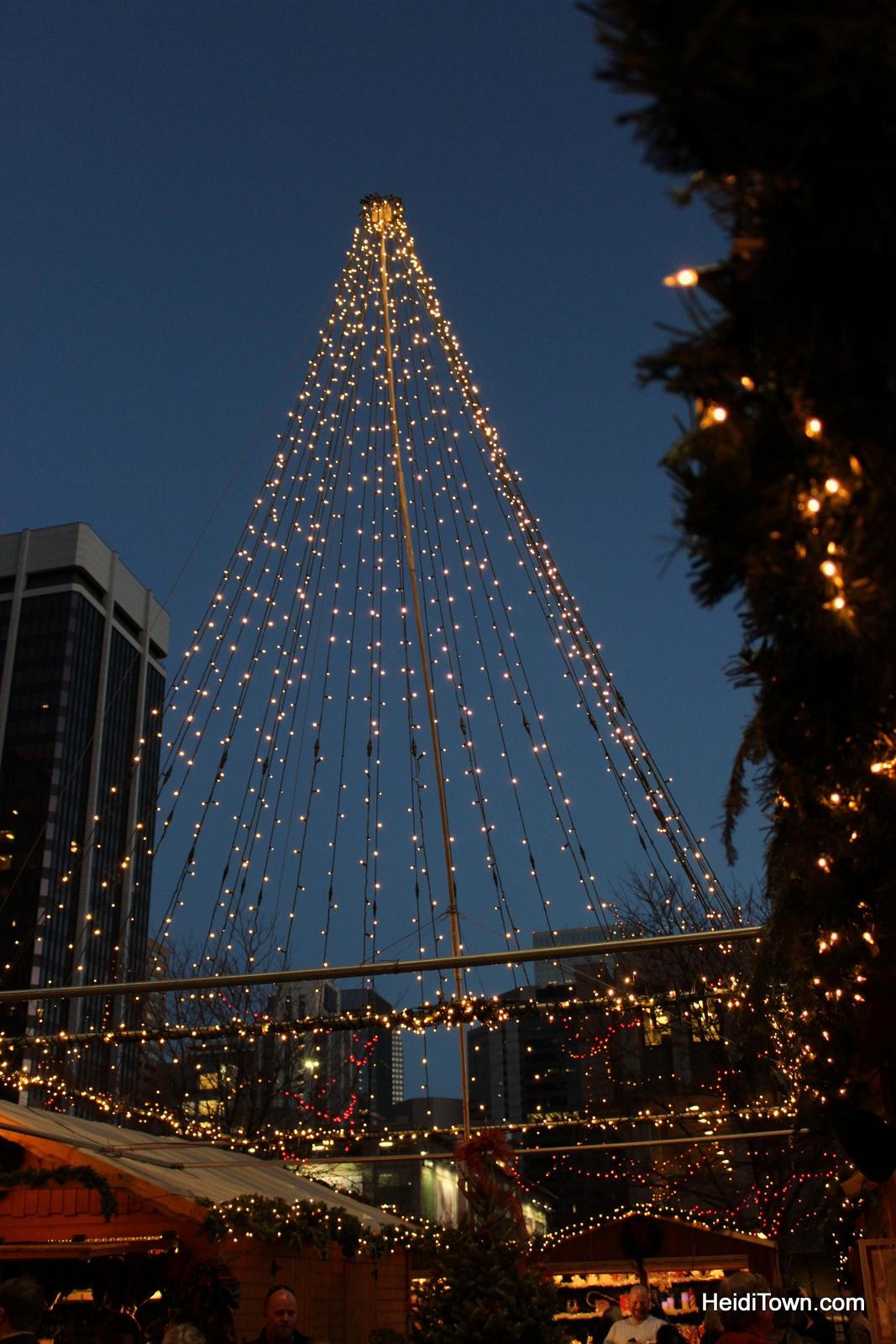 Christmas lights at the Denver Christkindl Market 2014. HeidiTown.com