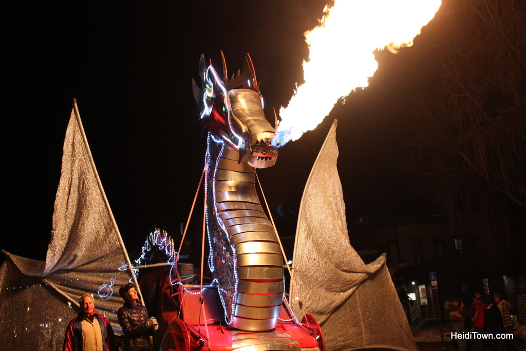 Telluride Fire Festival fire breathing dragon. HeidiTown.com