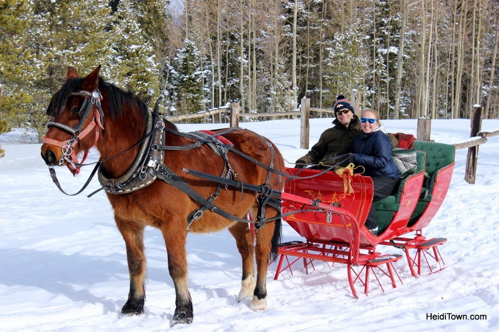 A sleigh ride at Snow Mountain Ranch. Heidi & Ryan pose with the reigns. HeidiTown.com