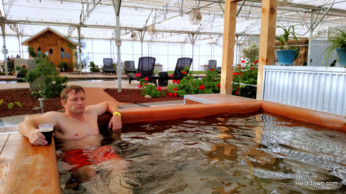 An oasis in Southern Colorado. Relaxing in the greenhouse at Sand Dunes Swimming Pool & Hot Springs. HeidiTown.com