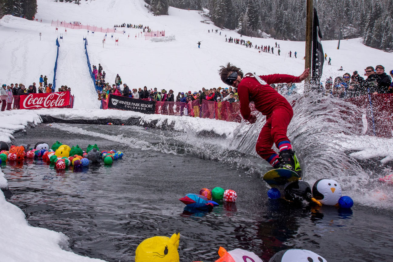 Spring slopeside festivals in Colorado. Pond skimming in Winter Park