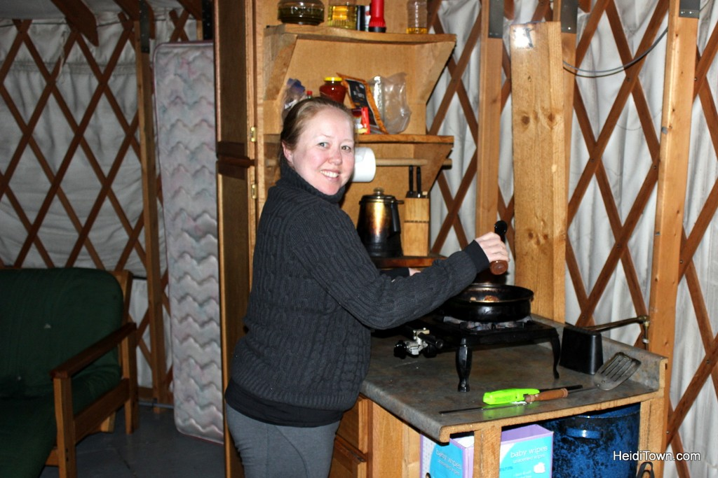 The Yurt life is the life for me. cooking dinner in the yurt. HeidiTown.com