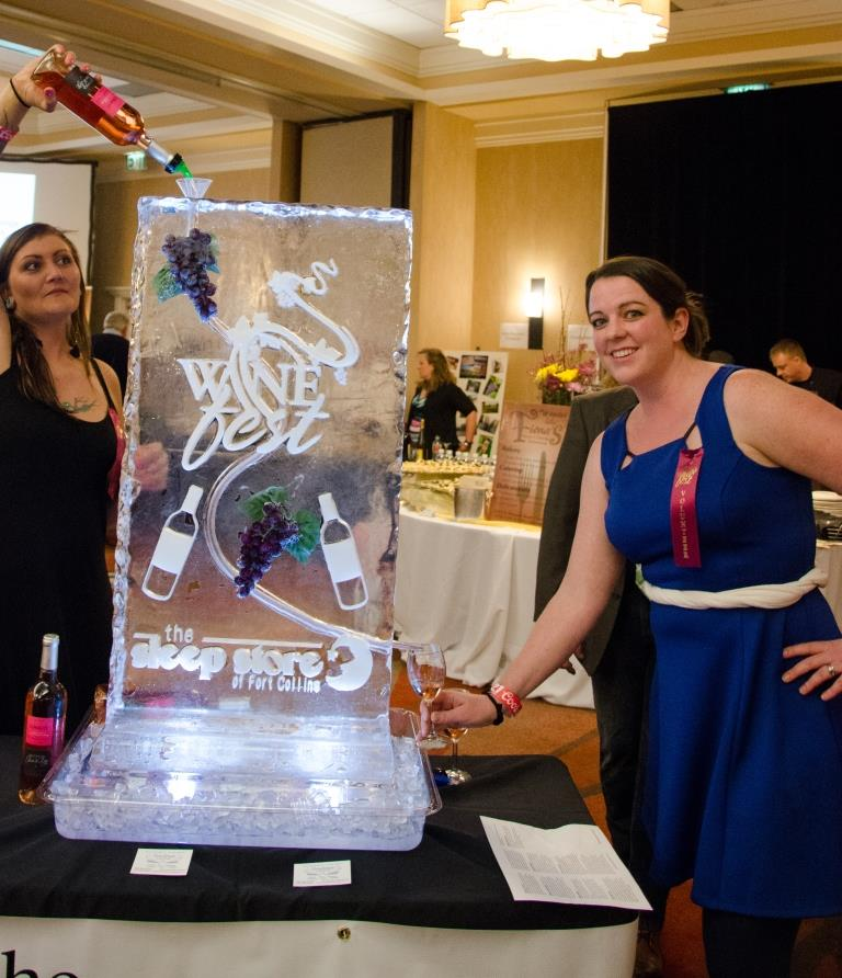wine luge ice sculpture at Wine Fest in Fort Collins, Colorado. HeidiTown.com