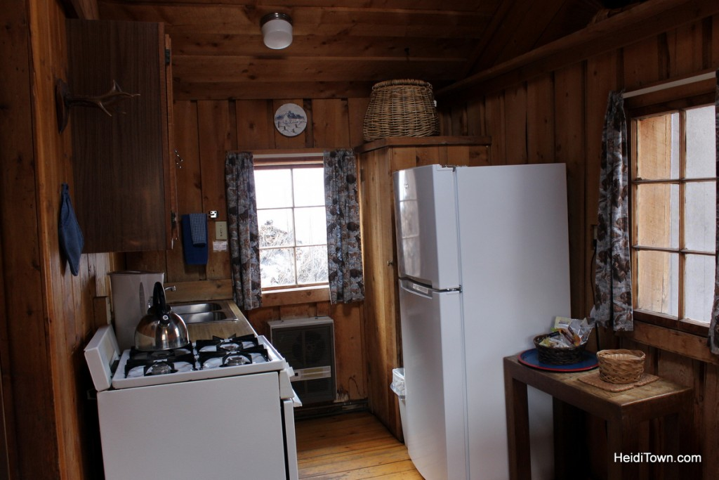 experience the magic of avalanche ranch. Inside cabin 8, kitchen view. HeidiTown.com