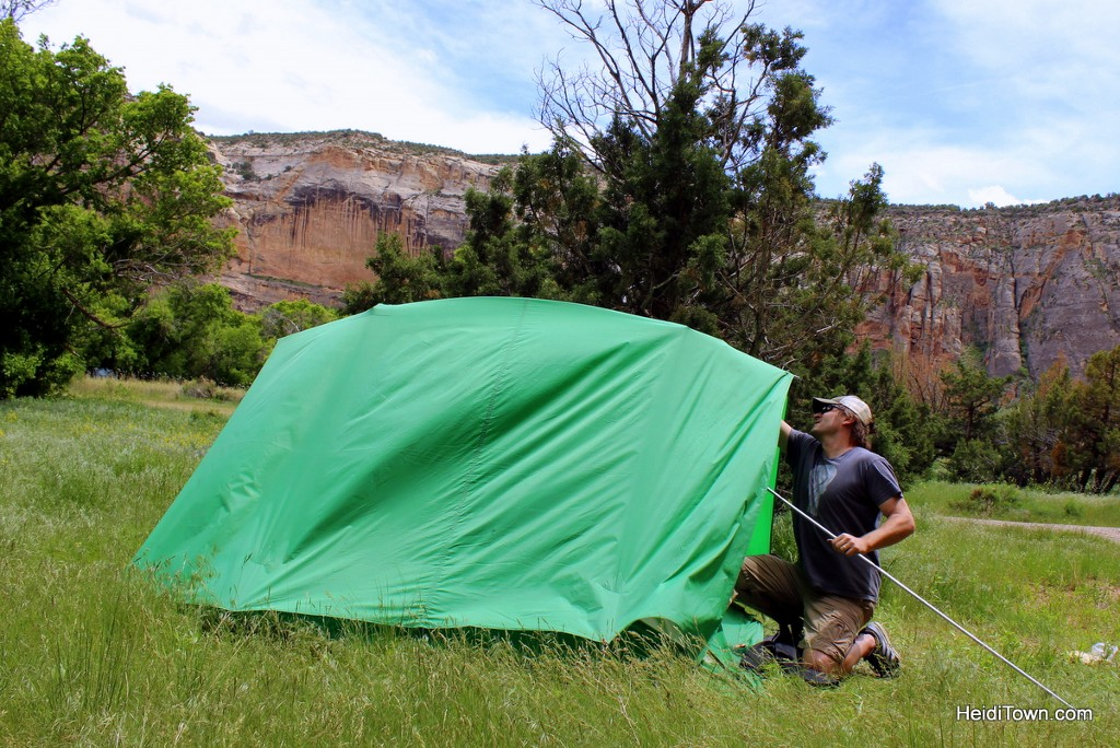 Camping at Echo Park in Dinosaur National Monument. Saving the tent. HeidiTown.com