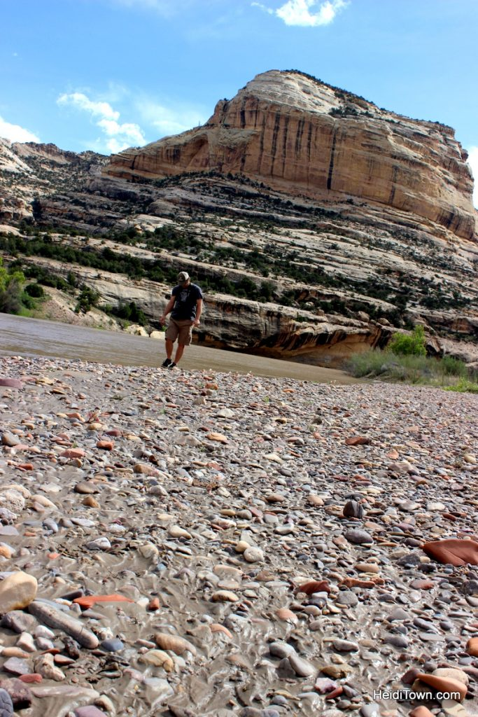 Easy hiking around Echo Park, Dinosaur National Monument. Exploring the river beach. HeidiTown.com