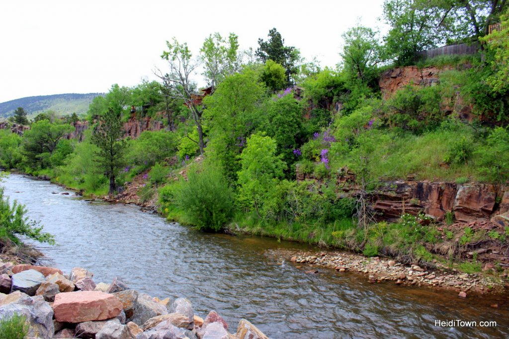 A stay at Colorado's only tiny home hotel. St. Vrain River shot. HeidiTown.com