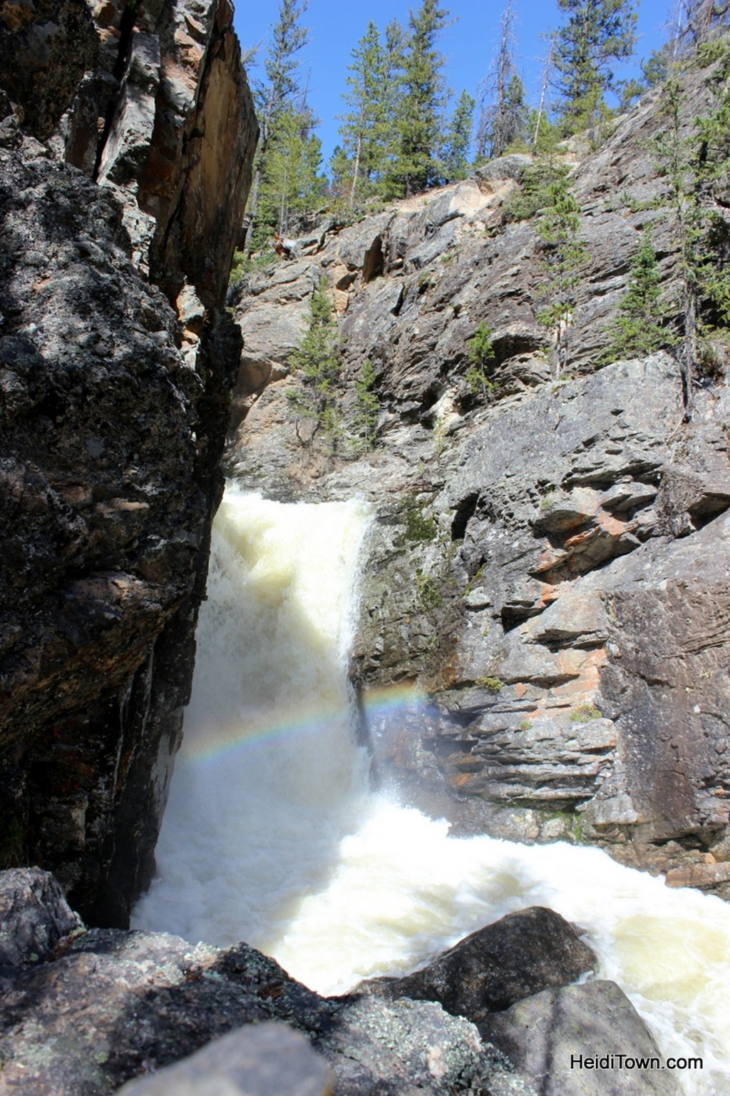 The perfect day in Grand Lake. Rainbow in Adams Falls. HeidiTown.com