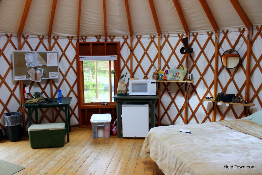 A stay at Yurt Village at Snow Mountain Ranch. Inside the yurt view. HeidiTown.com