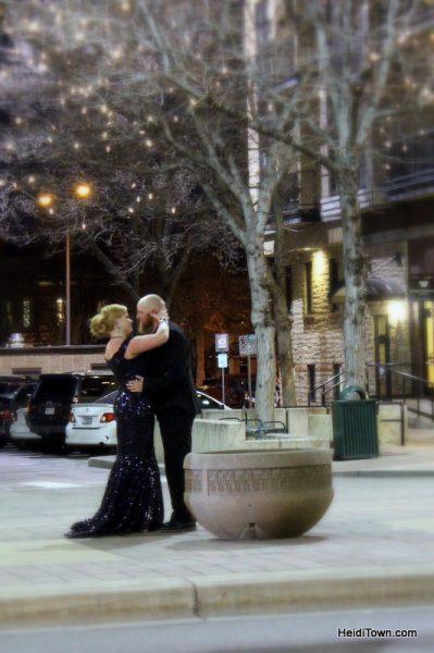 Fort Collins for Christmas, random couple kissing downtown
