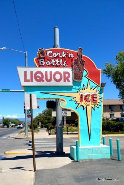 Cortez, Colorado, Blending the Past & Present, Cork n' Bottle retro sign. HeidiTown.com