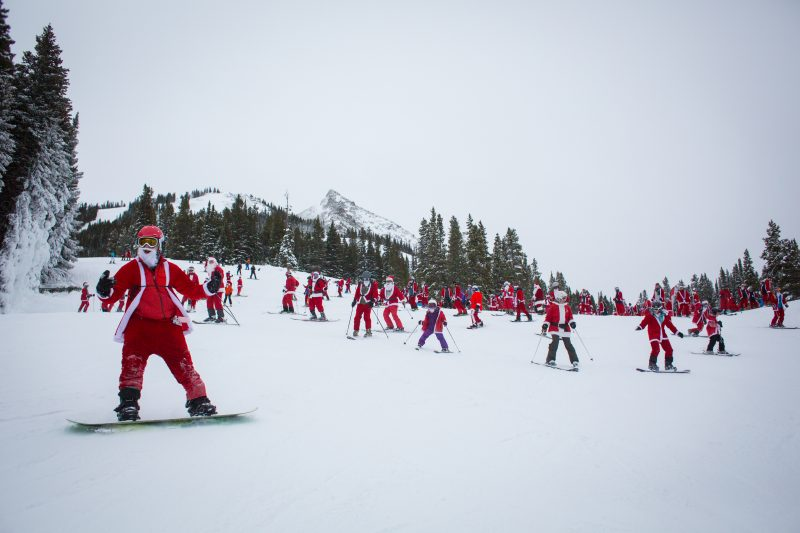 Santa Claus is Coming to Town 3 Santa Festivals in Colorado Photo credit Crested Butte Mountain Resort Santa Ski Crawl
