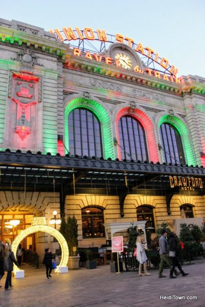 A Holiday Date Night in Denver With a Stay at Le Méridien. Union Station lit up for Christmas. HeidiTown.com