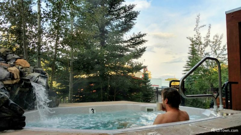 Stay in Keystone, Colorado. Hot tub at Black Bear Lodge, HeidiTown.com