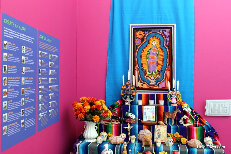 Celebrate Dia de los Muertos in Longmont, Colorado, Featured Festival. Example Alter at exhibit. HeidiTown.com